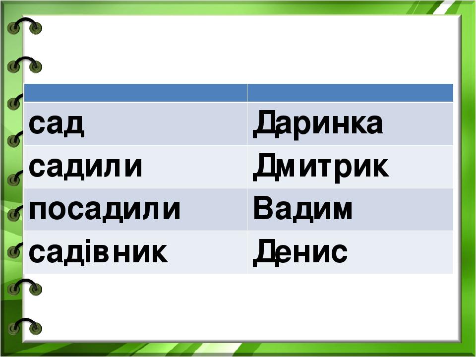 сад Даринка садили Дмитрик посадили Вадим садівник Денис