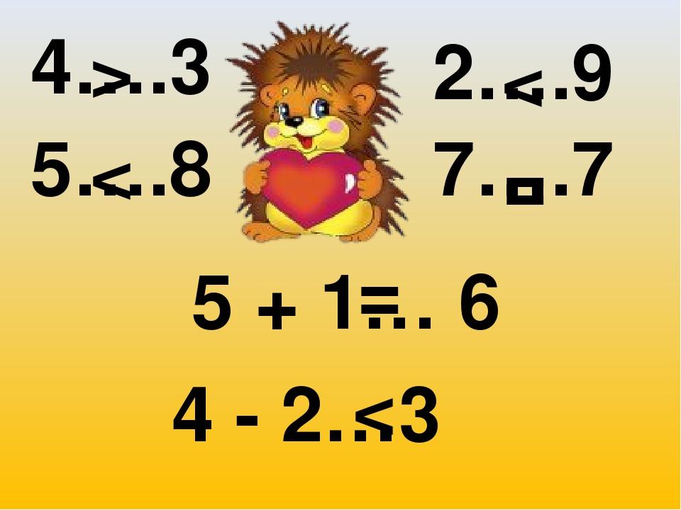 4….3 2….9 5….8 7….7 5 + 1… 6 4 - 2…3 < < < > = =