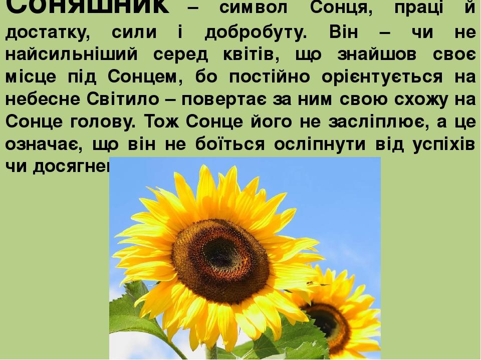 Соняшник – символ Сонця, праці й достатку, сили і добробуту. Він – чи не найсильніший серед квітів, що знайшов своє місце під Сонцем, бо постійно о...