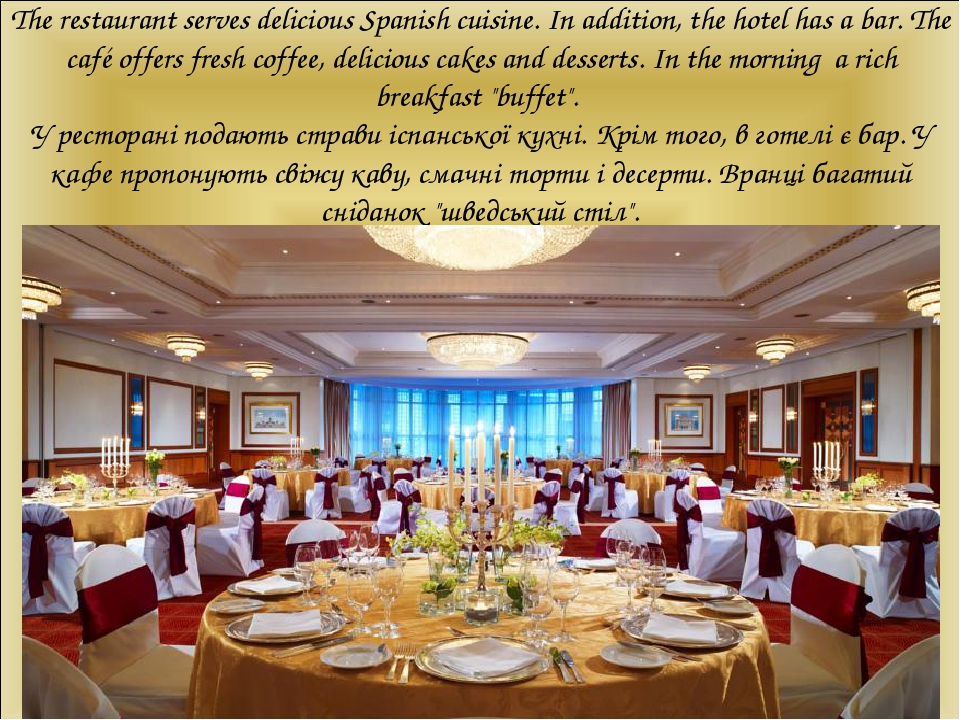 The restaurant serves delicious Spanish cuisine. In addition, the hotel has a bar. The café offers fresh coffee, delicious cakes and desserts. In t...