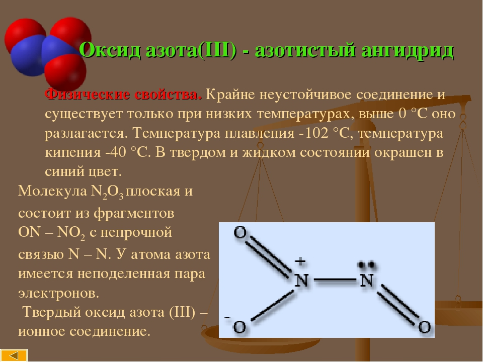 Оксид азота(III) - азотистый ангидрид Физические свойства. Крайне неустойчивое соединение и существует только при низких температурах, выше 0°С он...