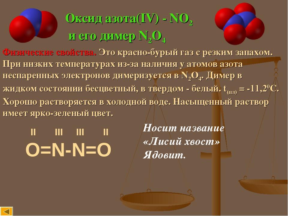 Оксид азота(IV) - NO2 и его димер N2O4 Физические свойства. Это красно-бурый газ с резким запахом. При низких температурах из-за наличия у атомов а...