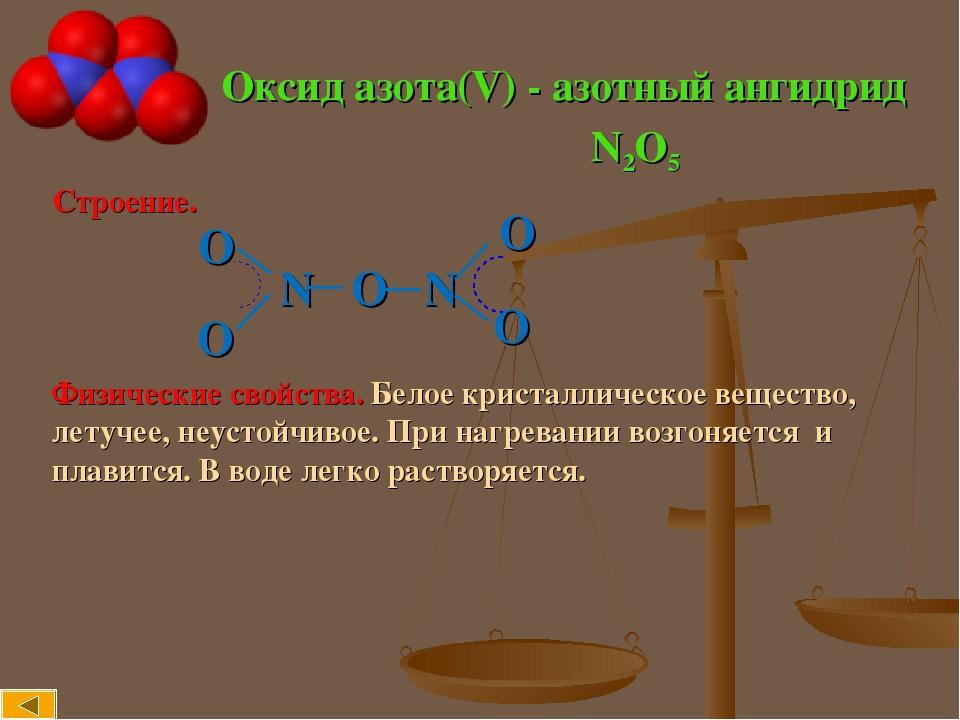 Оксид азота(V) - азотный ангидрид Строение. N O N Физические свойства. Белое кристаллическое вещество, летучее, неустойчивое. При нагревании возгон...