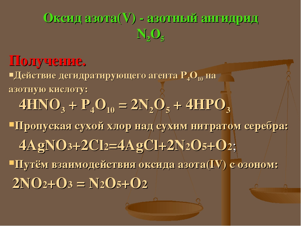 Оксид азота(V) - азотный ангидрид N2O5 Получение. Действие дегидратирующего агента Р4О10 на азотную кислоту: 4HNO3 + P4O10 = 2N2O5 + 4HPO3 Пропуска...