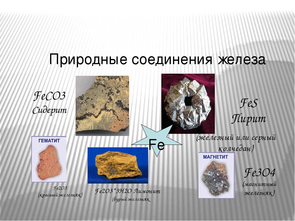 Природные соединения железа FeCO3 Сидерит FeS Пирит Fe (железный или серный колчедан) Fe3O4 (магнитный железняк) Fe2O3*3H2O Лимонит (бурый железн...