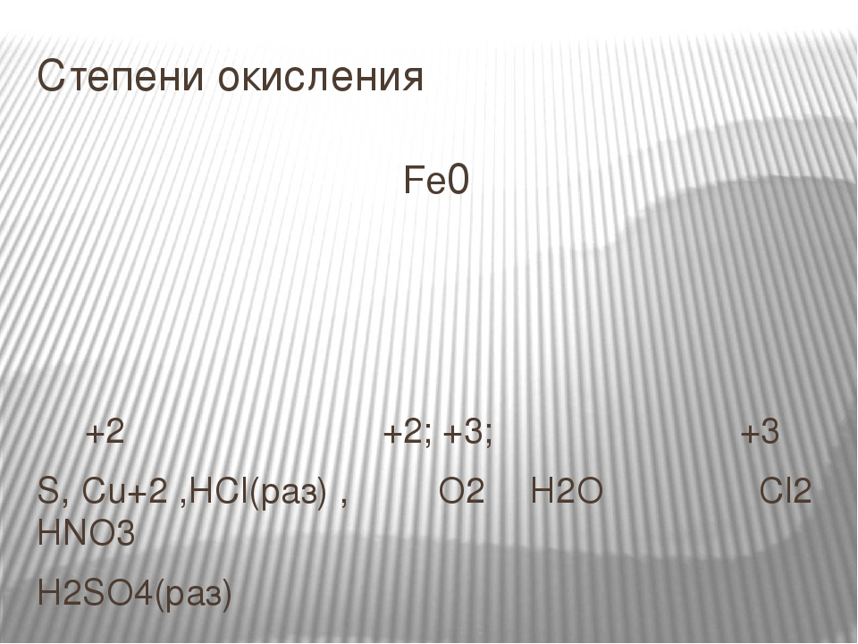 Степени окисления Fe0 +2 +2; +3; +3 S, Cu+2 ,HCl(раз) , O2 H2O Cl2 HNO3 H2SO4(раз)