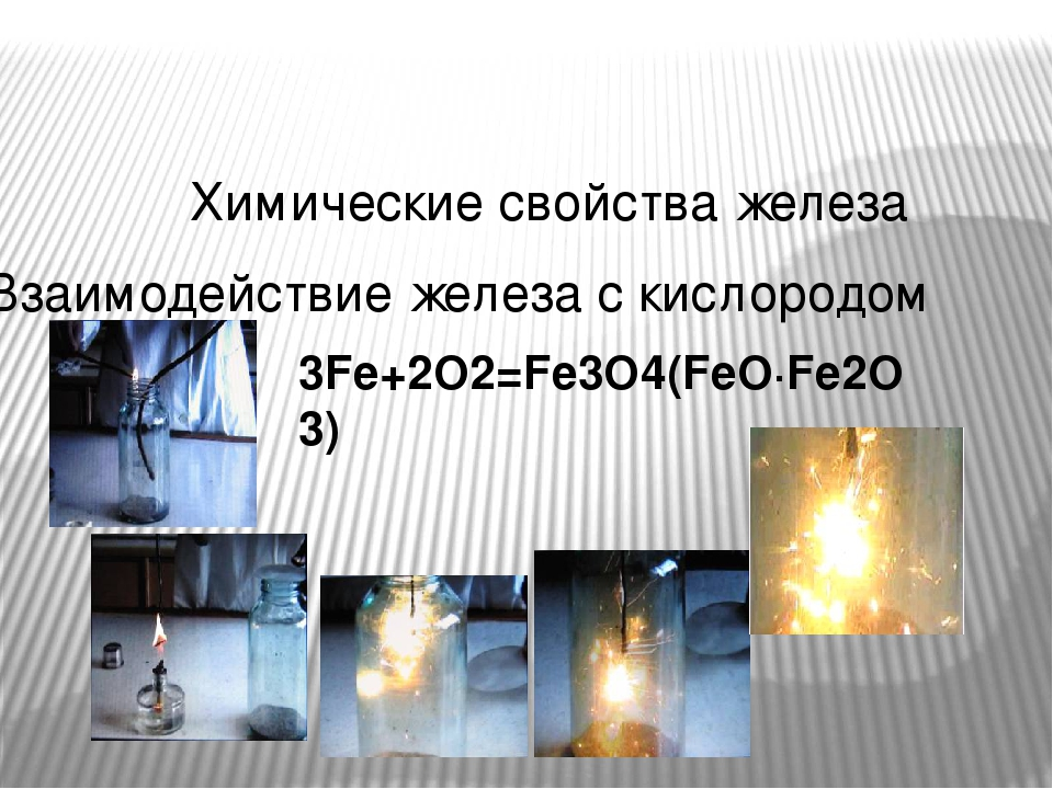 Химические свойства железа Взаимодействие железа с кислородом 3Fe+2O2=Fe3O4(FeO∙Fe2O3) 