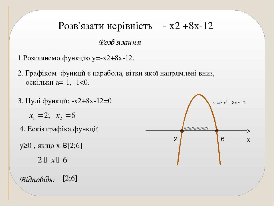 1.Розглянемо функцію у=-х2+8х-12. 3. Нулі функції: -х2+8х-12=0 Відповідь: 4. Ескіз графіка функції /////////////////// 2. Графіком функції є парабо...
