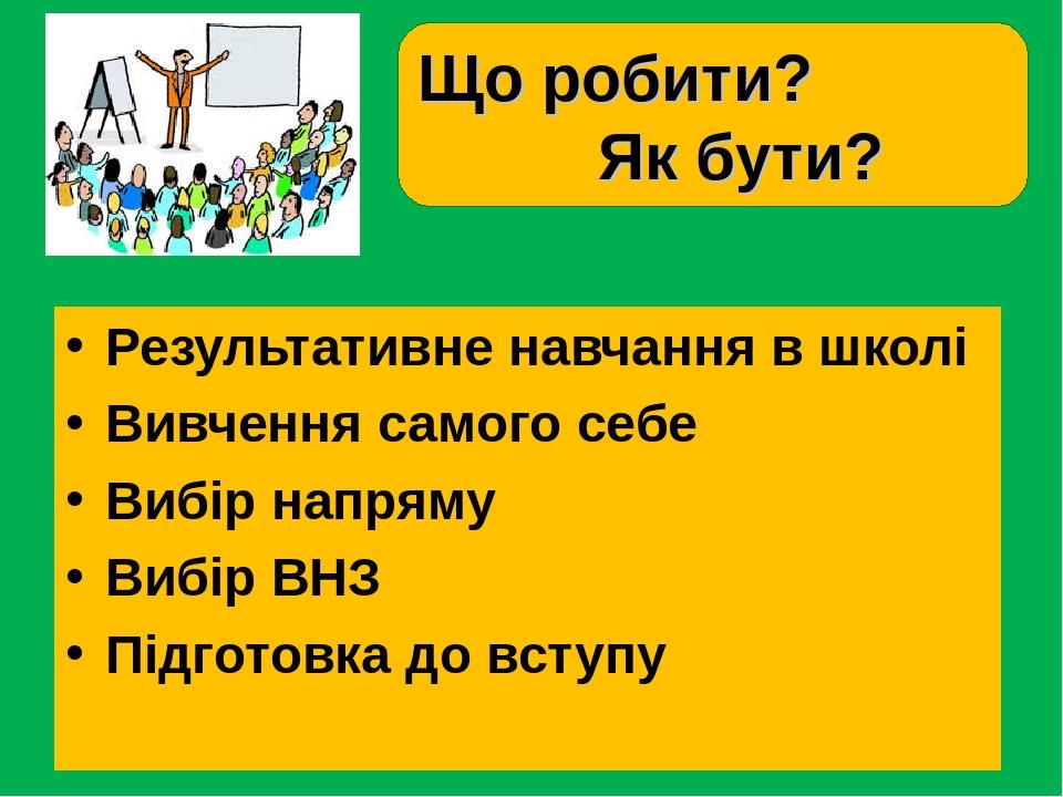 Результативне навчання в школі Вивчення самого себе Вибір напряму Вибір ВНЗ Підготовка до вступу Що робити? Як бути?