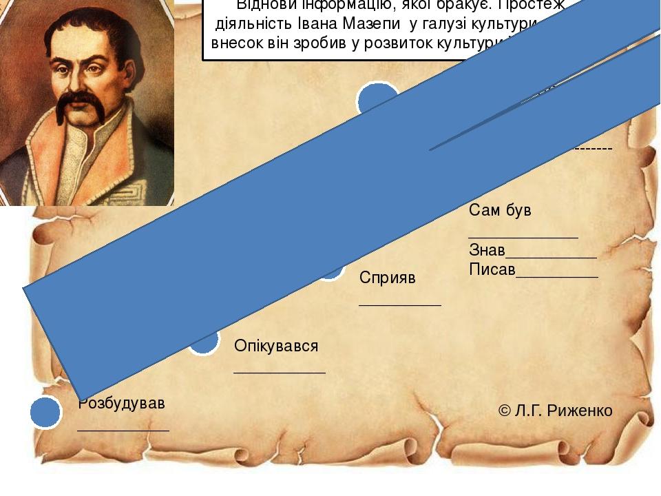 Розбудував __________ Опікувався __________ Сприяв _________ Сам був ____________ Знав__________ Писав_________ Внесок у розвиток культури України_...