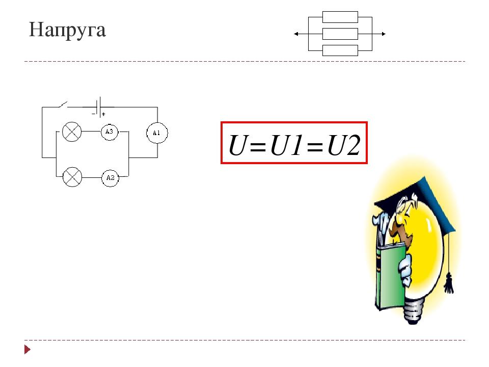 Напруга U=U1=U2
