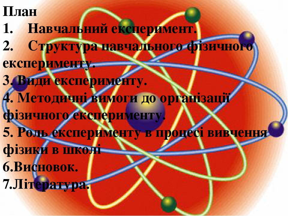 План 1. Навчальний експеримент. 2. Структура навчального фізичного експерименту. 3.Види експерименту. 4. Методичні вимоги до організації фі...