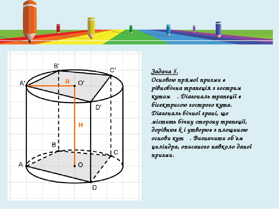 Задача 5. Основою прямої призми є рівнобічна трапеція з гострим кутом α. Діагональ трапеції є бісектрисою гострого кута. Діагональ бічної грані, що...