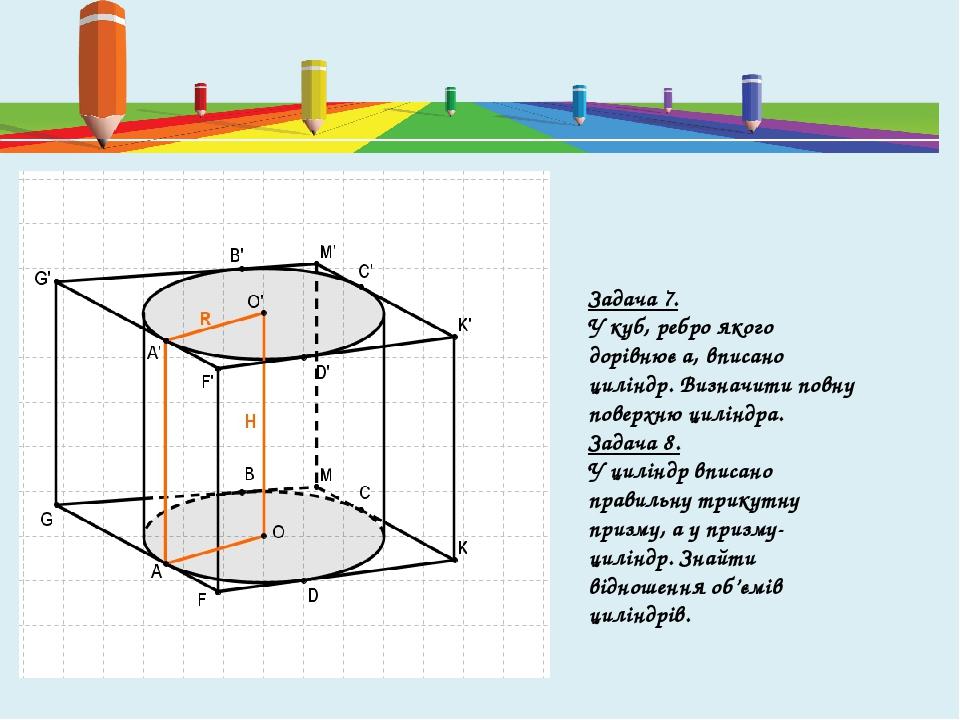 Задача 7. У куб, ребро якого дорівнює a, вписано циліндр. Визначити повну поверхню циліндра. Задача 8. У циліндр вписано правильну трикутну призму,...