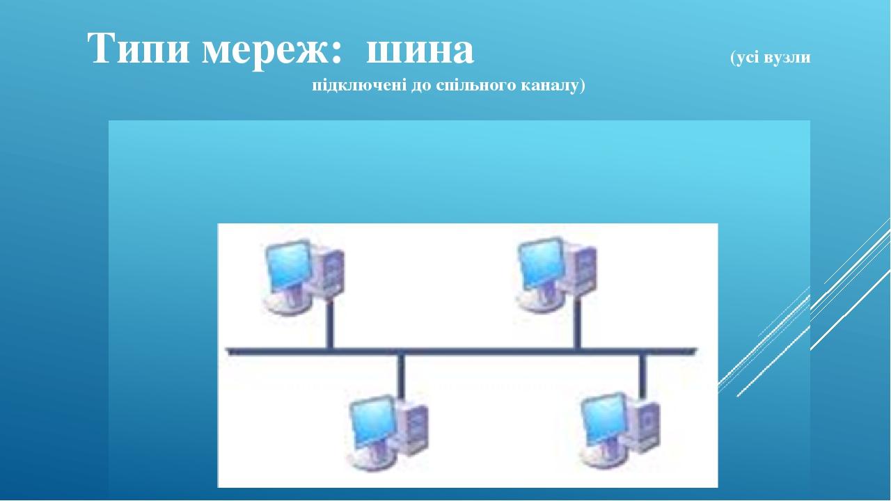 Типи мереж: шина (усі вузли підключені до спільного каналу)