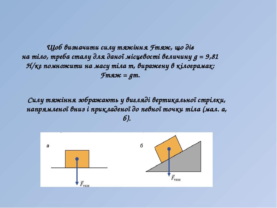 Щоб визначити силу тяжіння Fтяж, що діє на тіло, треба сталу для даної місцевості величину g = 9,81 Н/кг помножити на масу тіла m, виражену в кілог...