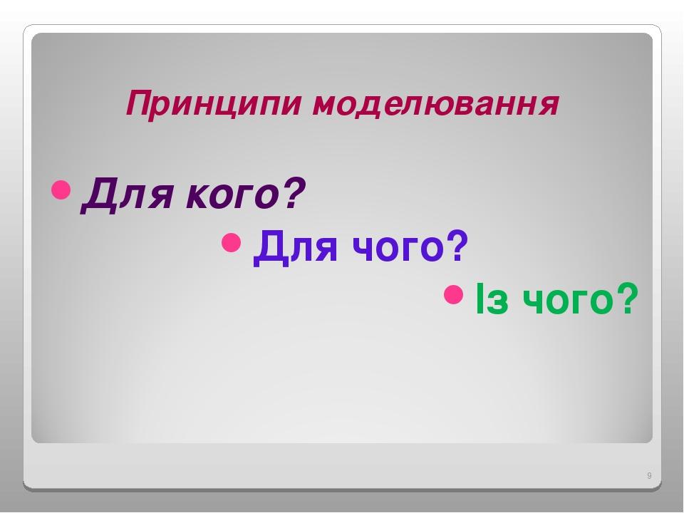Принципи моделювання Для кого? Для чого? Із чого? *