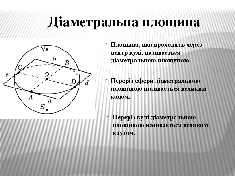 Діаметральна площина Площина, яка проходить через центр кулі, називається діаметральною площиною Переріз кулі діаметральною площиною називається ве...