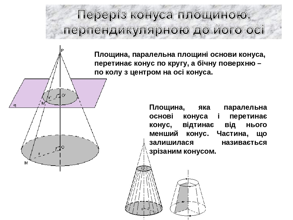 Площина, паралельна площині основи конуса, перетинає конус по кругу, а бічну поверхню – по колу з центром на осі конуса. Площина, яка паралельна ос...