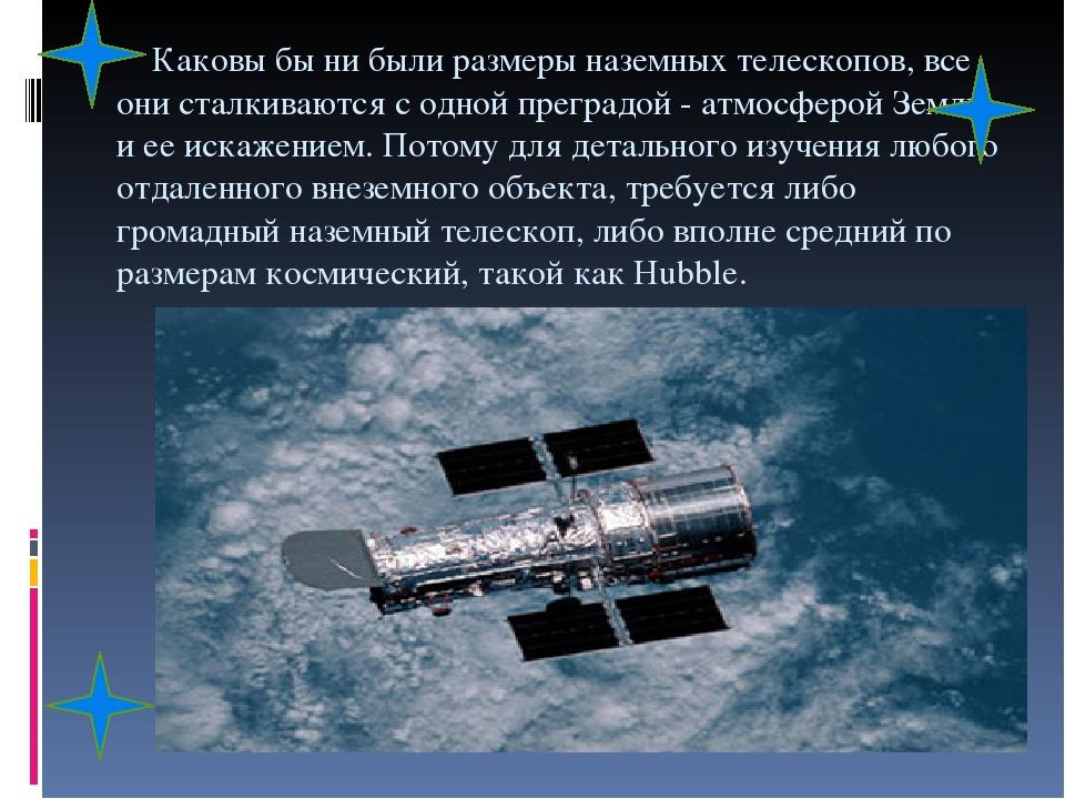 Каковы бы ни были размеры наземных телескопов, все они сталкиваются с одной преградой - атмосферой Земли и ее искажением. Потому для детального изу...