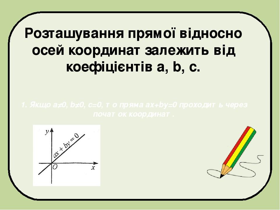 Розташування прямої відносно осей координат залежить від коефіцієнтів а, b, с. 1. Якщо а≠0, b≠0, с=0, то пряма ах+bу=0 проходить через початок коор...
