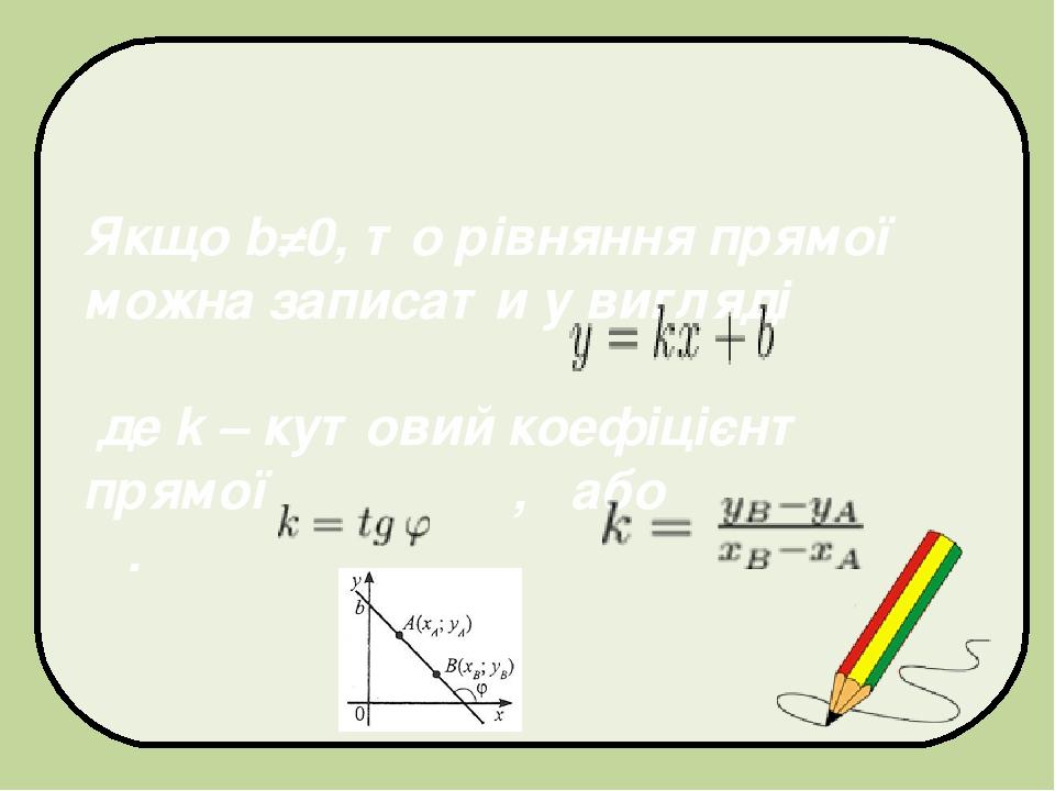 Якщо b≠0, то рівняння прямої можна записати у вигляді де k – кутовий коефіцієнт прямої , або .