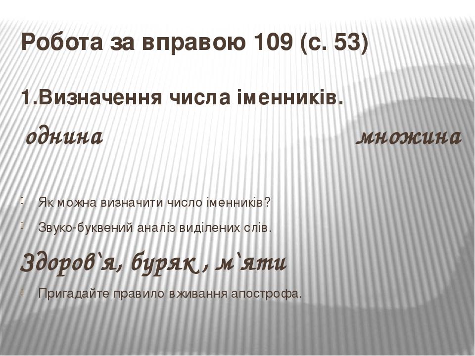 Робота за вправою 109 (с. 53) 1.Визначення числа іменників. однина множина Як можна визначити число іменників? Звуко-буквений аналіз виділених слів...