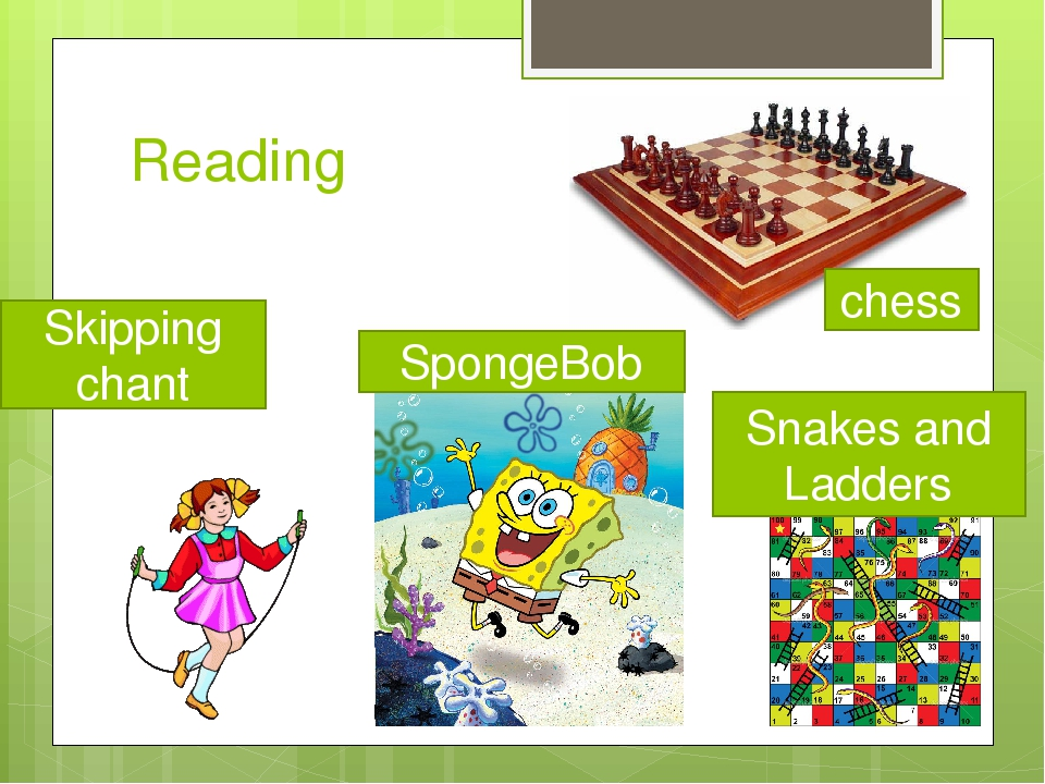 Reading chess SpongeBob Snakes and Ladders Skipping chant