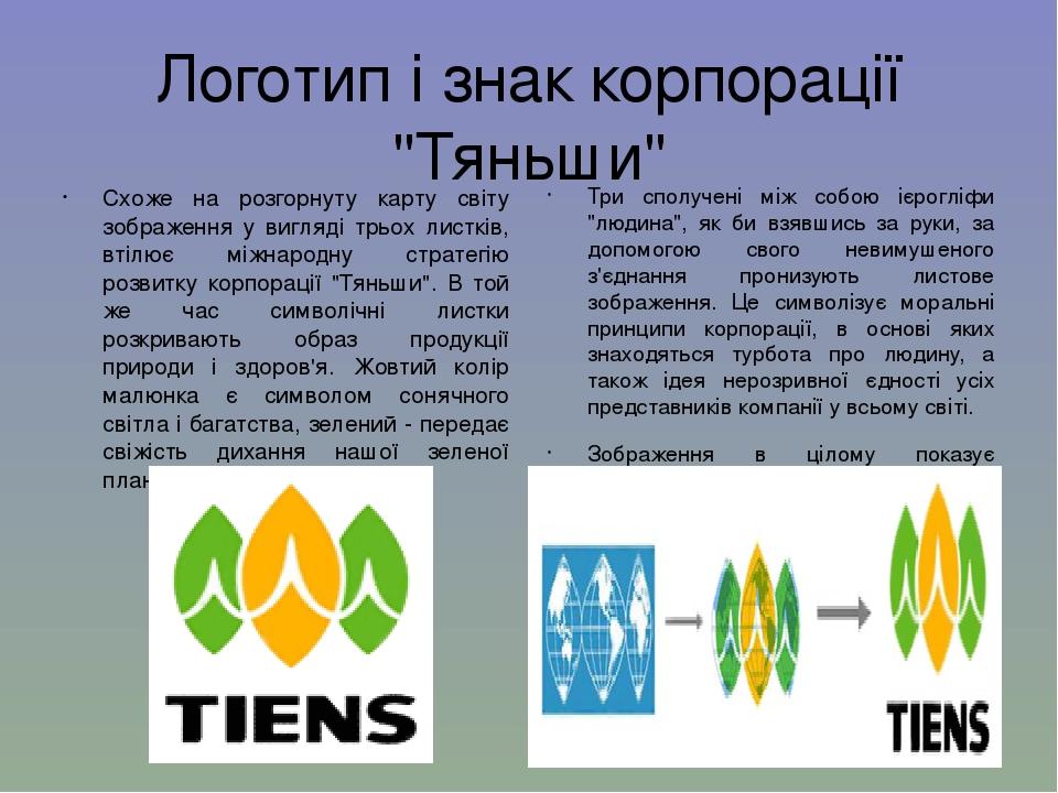 """Логотип і знак корпорації """"Тяньши"""" Схоже на розгорнуту карту світу зображення у вигляді трьох листків, втілює міжнародну стратегію розвитку корпора..."""