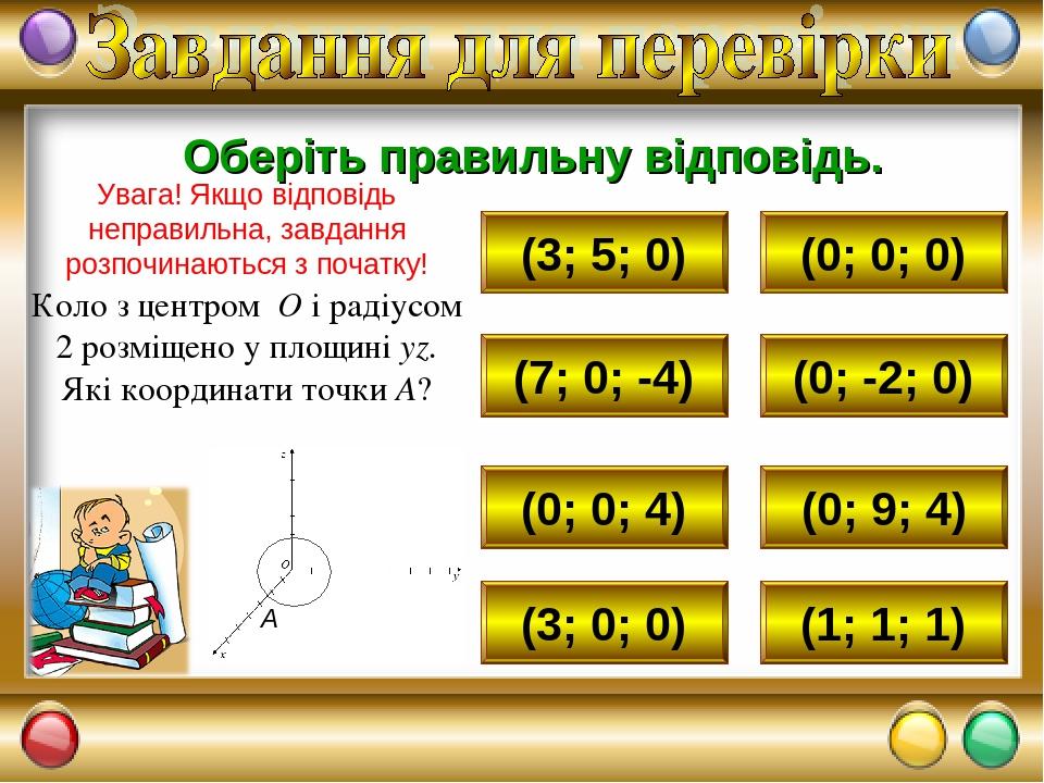 (3; 5; 0) (0; 0; 0) (7; 0; -4) (0; 0; 4) (3; 0; 0) (1; 1; 1) (0; 9; 4) (0; -2; 0) Оберіть правильну відповідь. Увага! Якщо відповідь неправильна, з...