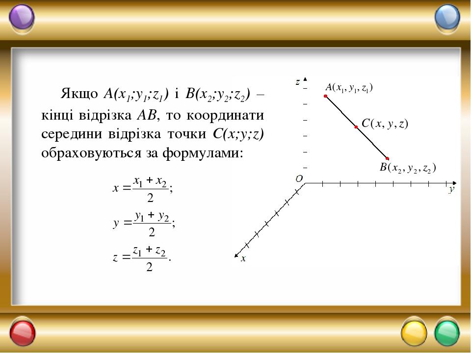 Якщо A(x1;y1;z1) і B(x2;y2;z2) – кінці відрізка АВ, то координати середини відрізка точки С(x;y;z) обраховуються за формулами: