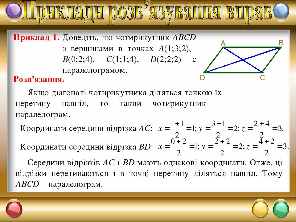 Приклад 1. Доведіть, що чотирикутник ABCD з вершинами в точках A(1;3;2), B(0;2;4), C(1;1;4), D(2;2;2) є паралелограмом. Розв'язання. Якщо діагоналі...