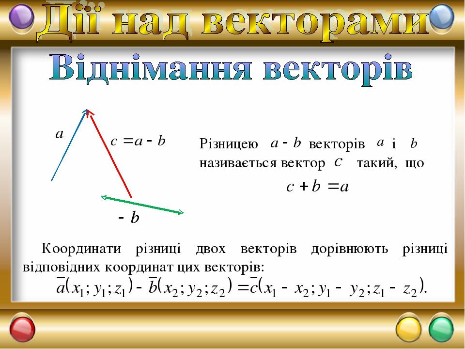 Координати різниці двох векторів дорівнюють різниці відповідних координат цих векторів: Різницею векторів і називається вектор такий, що