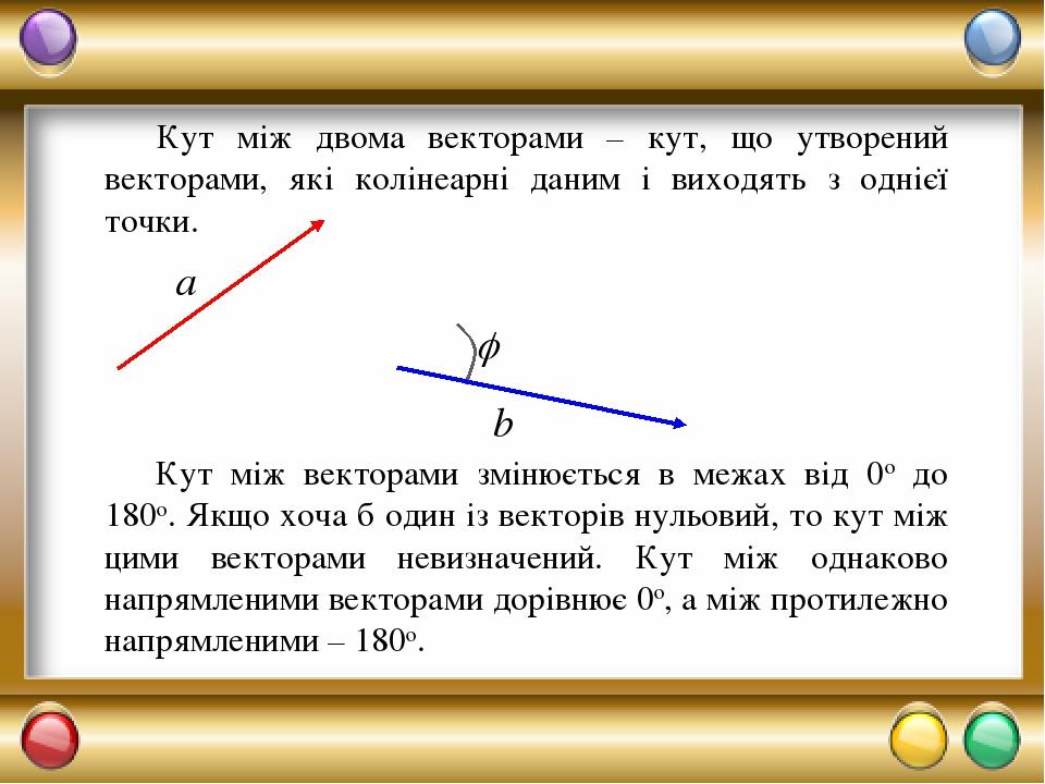 Кут між двома векторами – кут, що утворений векторами, які колінеарні даним і виходять з однієї точки. Кут між векторами змінюється в межах від 0о ...