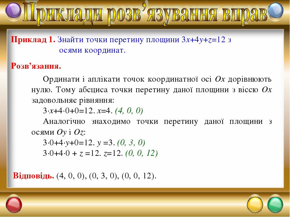 Приклад 1. Знайти точки перетину площини 3x+4y+z=12 з осями координат. Розв'язання. Ординати і аплікати точок координатної осі Ох дорівнюють нулю. ...