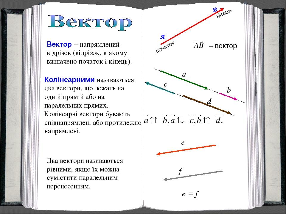 Вектор – напрямлений відрізок (відрізок, в якому визначено початок і кінець). початок кінець Колінеарними називаються два вектори, що лежать на одн...