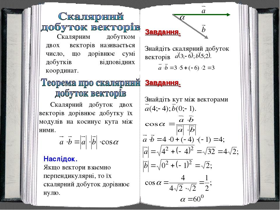 Скалярним добутком двох векторів називається число, що дорівнює сумі добутків відповідних координат. Завдання. Знайдіть скалярний добуток векторів ...