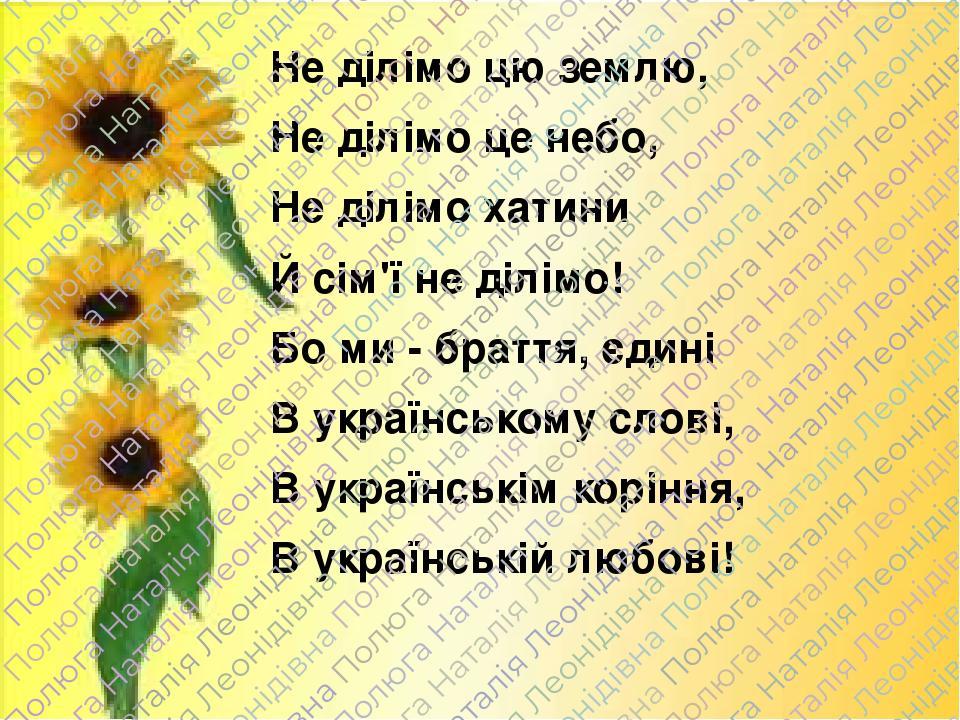 Не ділімо цю землю, Не ділімо це небо, Не ділімо хатини Й сім'ї не ділімо! Бо ми - браття, єдині В українському слові, В українськім коріння, В укр...