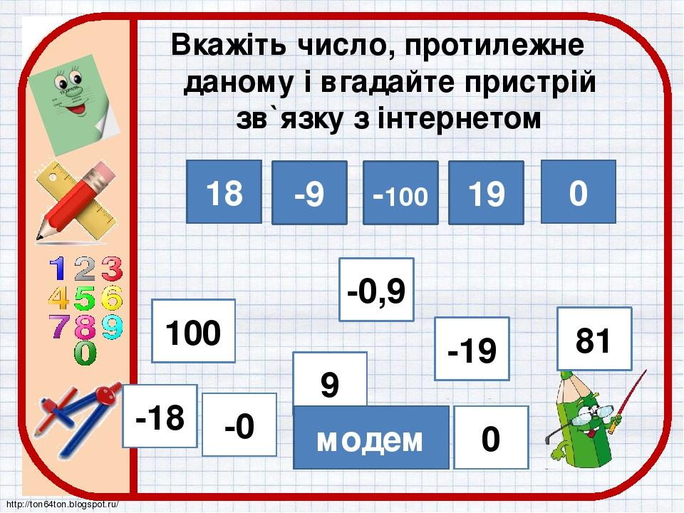 18 -9 -100 19 0 Вкажіть число, протилежне даному і вгадайте пристрій зв`язку з інтернетом -18 81 0 -19 100 9 -0 -0,9 модем http://ton64ton.blogspot...