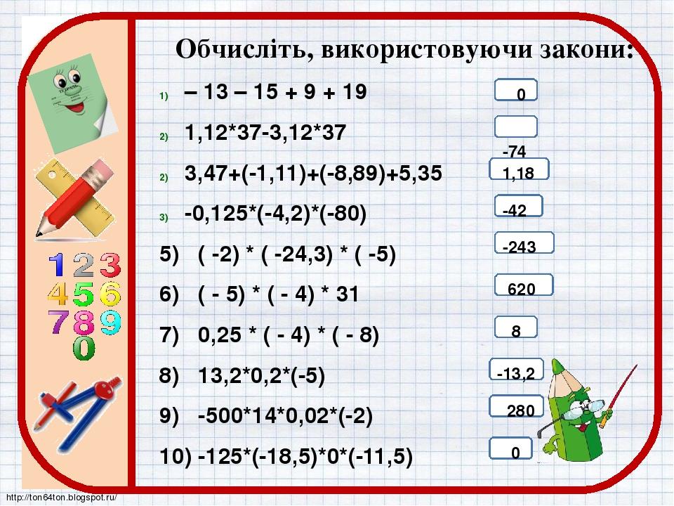 Обчисліть, використовуючи закони: – 13 – 15 + 9 + 19 1,12*37-3,12*37 3,47+(-1,11)+(-8,89)+5,35 -0,125*(-4,2)*(-80) 5) ( -2) * ( -24,3) * ( -5) 6) (...