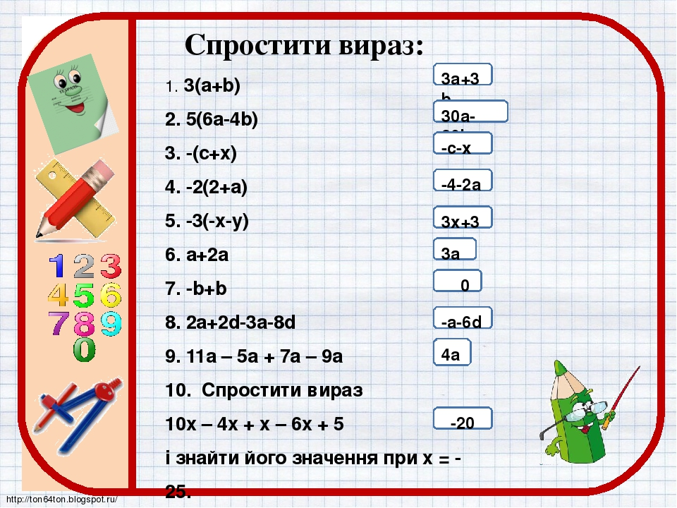 1. 3(а+b) 2. 5(6а-4b) 3. -(с+х) 4. -2(2+а) 5. -3(-х-у) 6. a+2a 7. -b+b 8. 2a+2d-3a-8d 9. 11а – 5а + 7а – 9а 10. Спростити вираз 10х – 4х + х – 6х +...