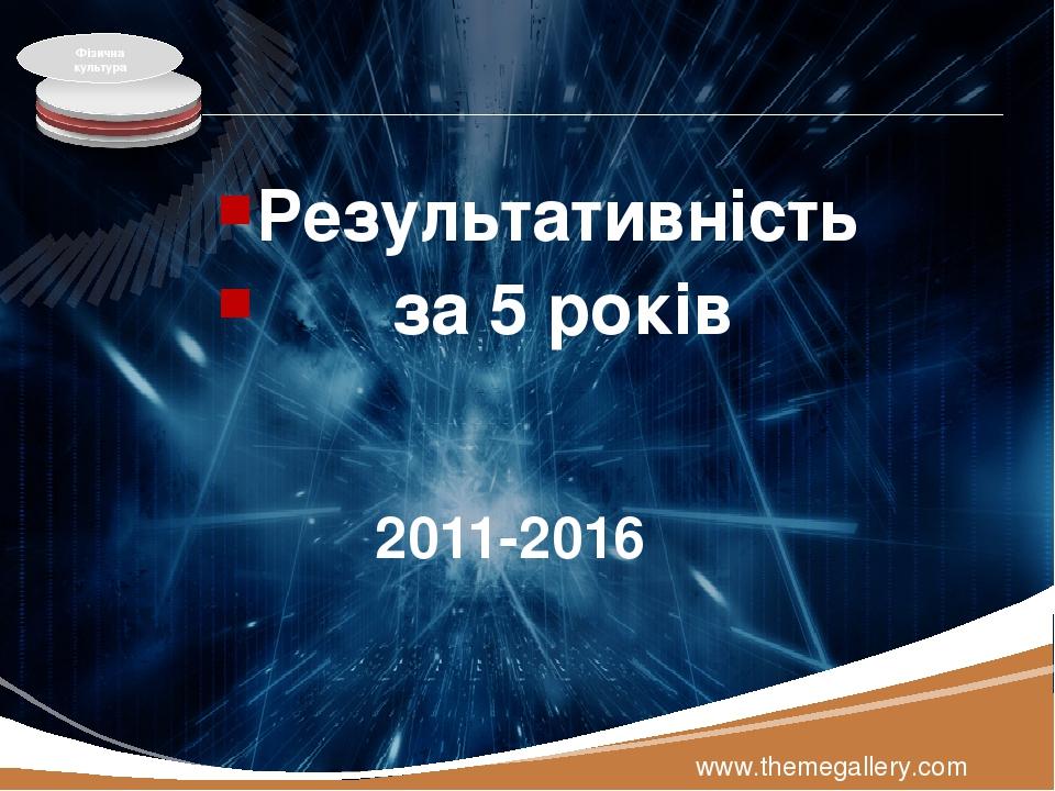 2011-2016 Результативність за 5 років www.themegallery.com Фізична культура LOGO