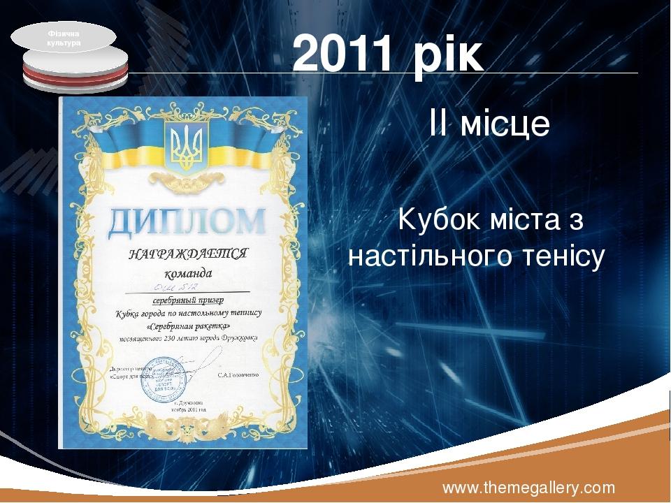2011 рік ІІ місце Кубок міста з настільного тенісу www.themegallery.com Фізична культура LOGO