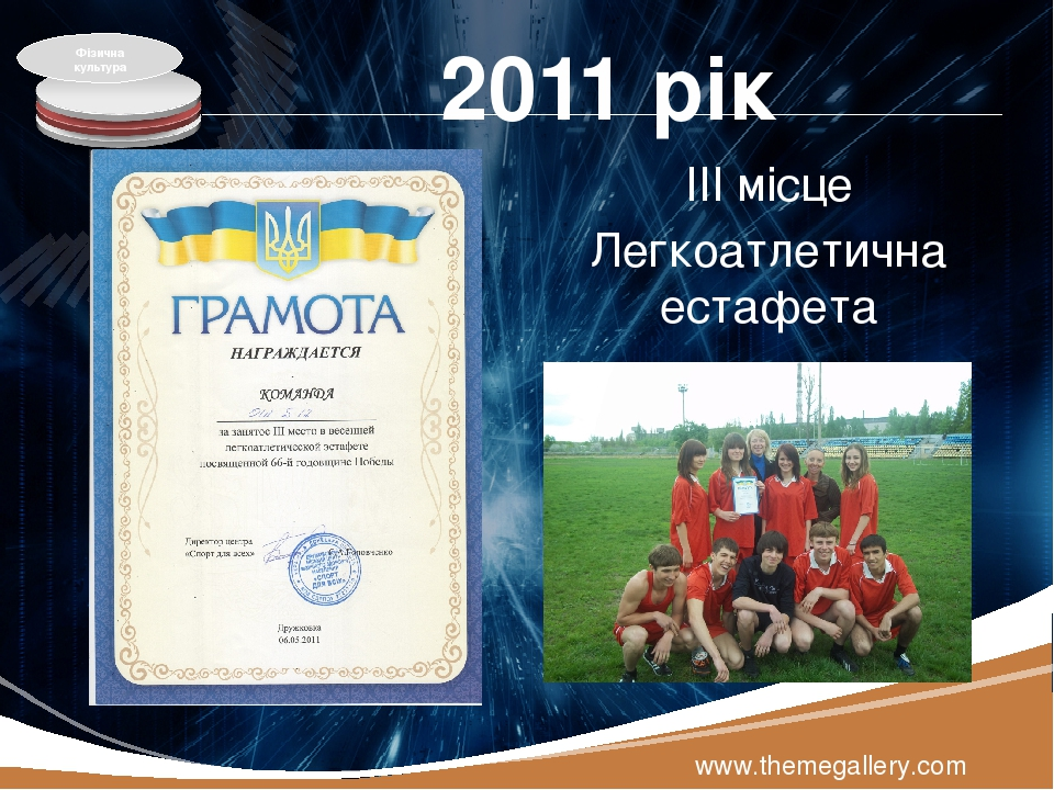 2011 рік ІІІ місце Легкоатлетична естафета www.themegallery.com Фізична культура LOGO