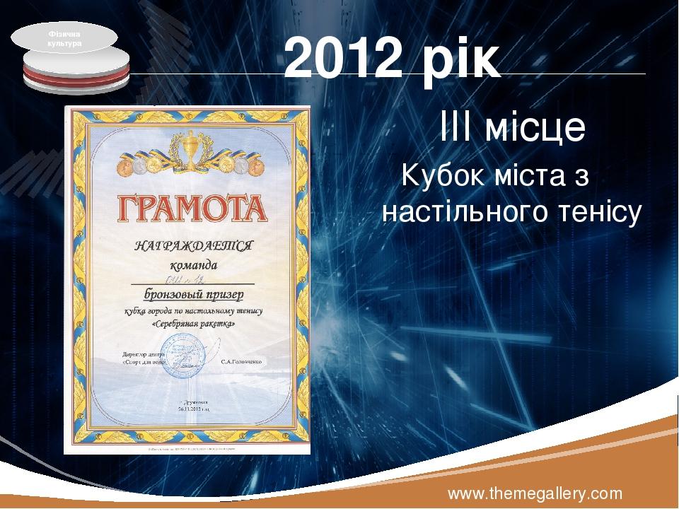 2012 рік ІІІ місце Кубок міста з настільного тенісу www.themegallery.com Фізична культура LOGO