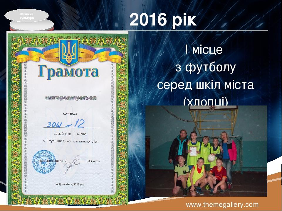 2016 рік І місце з футболу серед шкіл міста (хлопці) www.themegallery.com Фізична культура LOGO