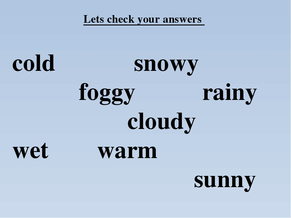 cold snowy foggy rainy cloudy wet warm sunny Lets check your answers