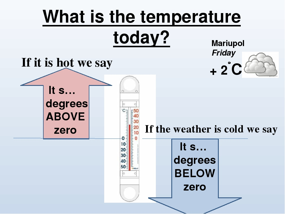 What is the temperature today? It s… degrees ABOVE zero It s… degrees BELOW zero Mariupol Friday + 2 C If it is hot we say If the weather is cold w...