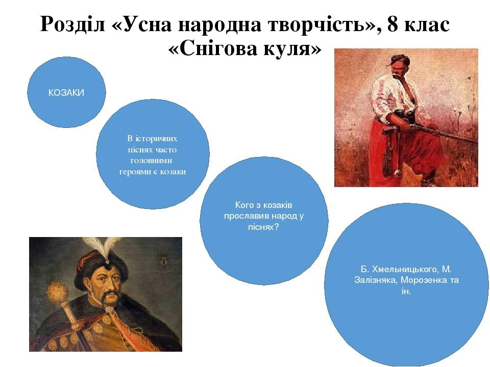 КОЗАКИ В історичних піснях часто головними героями є козаки Кого з козаків прославив народ у піснях? Б. Хмельницького, М. Залізняка, Морозенка та і...
