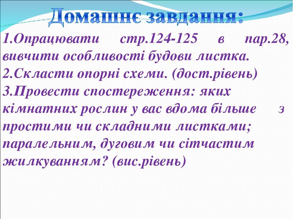 1.Опрацювати стр.124-125 в пар.28, вивчити особливості будови листка. 2.Скласти опорні схеми. (дост.рівень) 3.Провести спостереження: яких кімнатни...